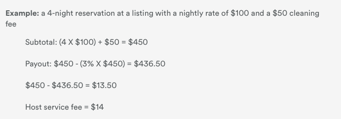 Airbnb charges hosts a percentage of the listing price per night